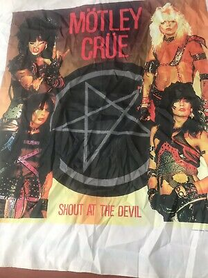 Vintage 1984 MOTLEY CRUE 44X46 SHOUT AT THE DEVIL Tapestry Flag Banner THE DIRT