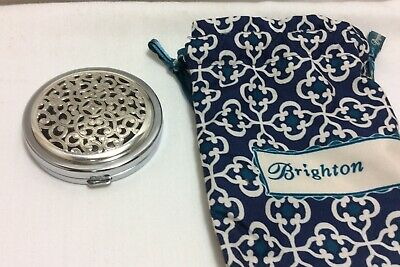 Purse Double Sided Mirror. Brighton Brand. Silver Tone Metal. 2-3/4 in Diameter.