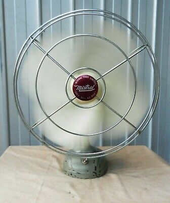 Oscillating Desk Fan Mistral 2 Speed Circa 1950 Made in Australia Vintage (b)