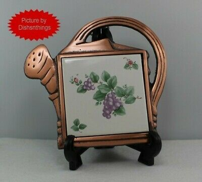 Pfaltzgraff GRAPEVINE Copper Metal Watering Can Shaped Tile Trivet NICE!