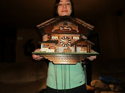Beautiful German Black Forest Musical Cuckoo Clock With  Waterwheel & Dancers