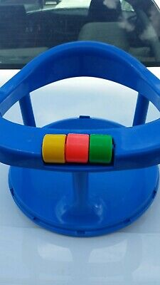 Vintage Safety 1st Blue Baby Bath Seat Locking Swivel Tub Chair Suction Ring