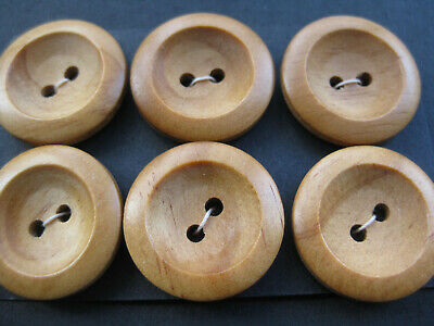 25mm Large Nice Brown Wood Concave Coat Jacket Vintage Sewing Buttons  Set  6