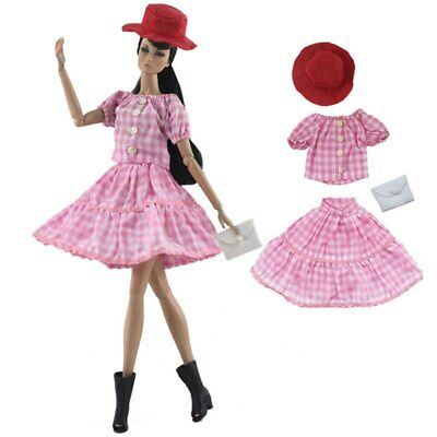 "1set Fashion Plaid Doll Clothes For 11.5"" Doll Top Skirt Hat Bag Fashion Outfits"