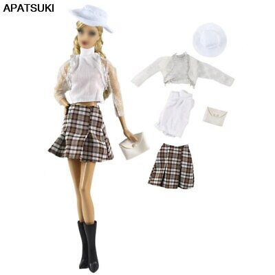 "1set Fashion Doll Clothes For 11.5"" Doll Top Plaid Skirt Hat Bag Fashion Outfits"