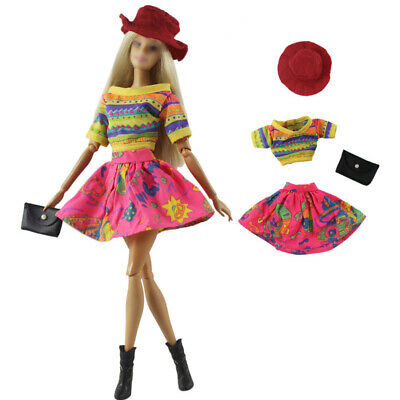 "Rainbow Fashion Doll Clothes For 11.5"" Doll Top Skirt Hat Bag Outfits 1/6 Toy"