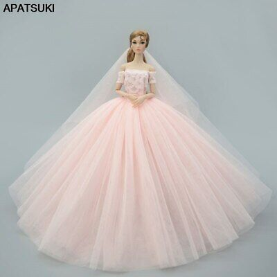 "Light Pink Fashion Dress For 11.5"" Doll Clothes Outfits Wedding Gown Party Dress"