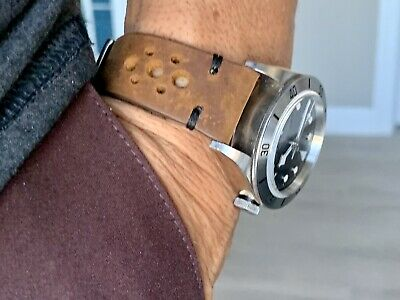 19mm BROWN Vintage Racing Crazy Horse Leather Watch Strap Band BLACK Stitch