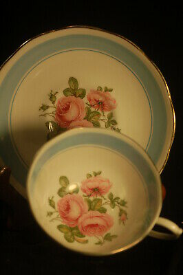 Roslyn Blue Banded Rose   Cup and Saucer