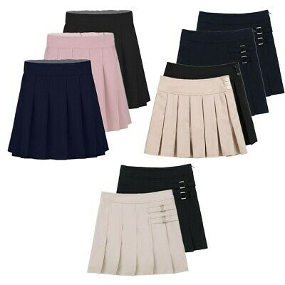 Girls Skirt School Uniform Box Pleated Elasticated Waist Kids Skater Dress Skirt