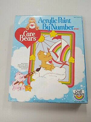 Craft Master Care Bears Paint By Acrylic Numbers 1983 New Sealed toy