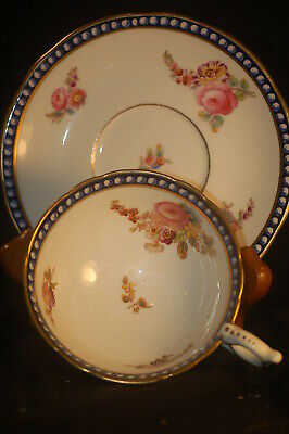 Coalport Blue ridged bordered Floral  Cup and Saucer