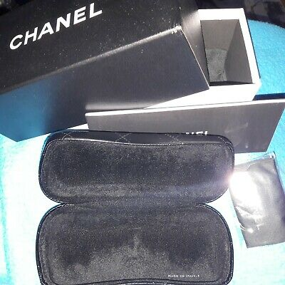 NEW grey HARD QUILTED CHANEL WOMENS GLASSES  CASE w' CLOTH in a BOX