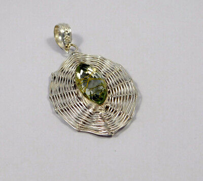 Golden Needle Rutile .925 Silver Plated Pendant Jewelry JC7585
