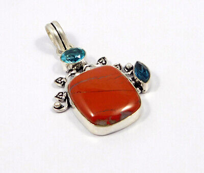Red Banded Agate .925 Silver Plated Handmade Pendant Jewelry JC7630