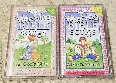 Lot of 2 WEE SING BIBLE SONGS Cassette Tapes Volumes 3 & 4 Tyndale Living Audio