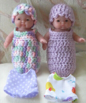 Berenguer 5 inch dolls Lots to love babies x 2 + clothing, cocoons & hats. VGUC