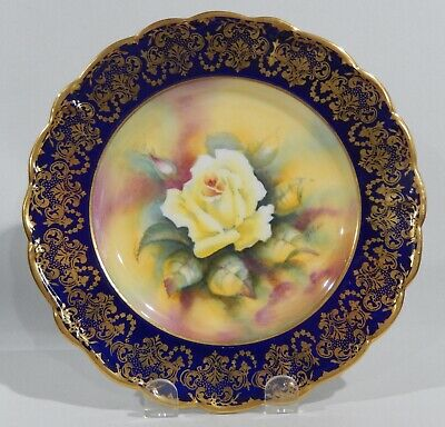 Rare PARAGON YELLOW ROSE CABINET PLATE COBALT & GOLD Hand Painted c1952-57 MINT