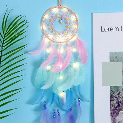 Dream Catcher Net With Lights Feathers Beads Wind Chime Wall Hanging Decor