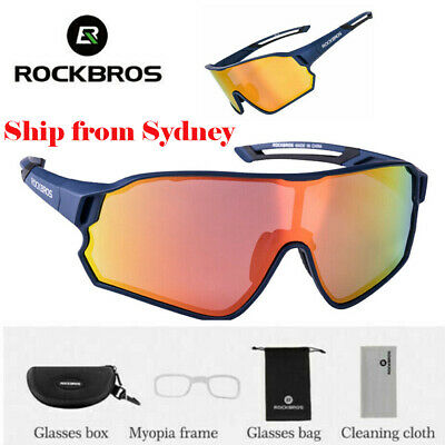 ROCKBROS Polarized Cycling Glasses Full Frame Sport Sunglasses Goggles Blue AU
