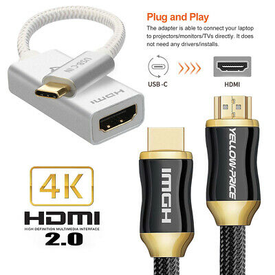 4K Braided HDMI Cable HDTV Adapter USB-C to HDMI Thunderbolt 3 Compatible