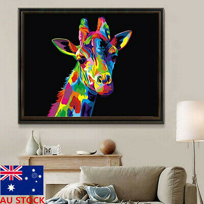 Wooden Framed Paint By Number Kit Multi-Colored Giraffe Wild Animal Home Decor