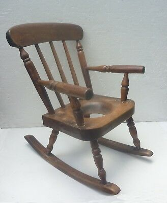ANTIQUE CHILD'S or DOLL'S ROCKING POTTY CHAIR