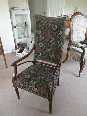 Victorian/Edwardian Upright Mahogany Arm/Elbow Chair, William Morris Upholstery