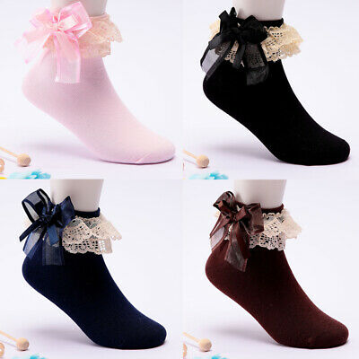 Girls Kids Bow Socks Ruffle Cotton Lace Princess Frilly Casual Ankle Short Socks