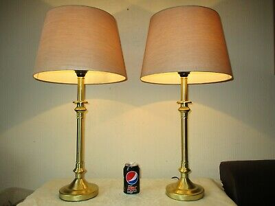 Tall Pair Of Vintage Matte Brass Candle Stick Table Lamps With Vintage Shades
