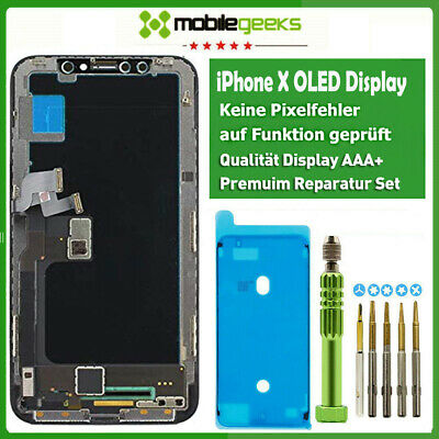 Display für iPhone X (10) OLED Glas 3DTouch LCD Komplett SCHWARZ Neueste Version
