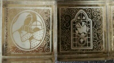 2 x Stained Glass Window Madonna & Child Acrylic Backed Rubber Stamp 3 x 3 cm