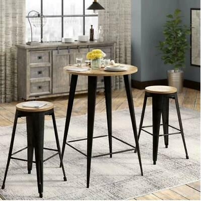 """Barajas 30"""" Bar Stool Tapered Steel Frames & Topped With Bamboo 2 Stools Brown"""