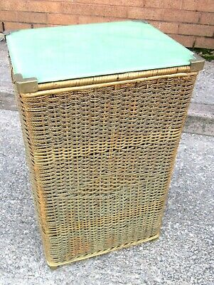 Vintage Laundry Basket Lloyd Loom Style Rectangular with Glass Top (WH_8799)
