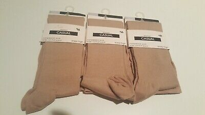 3x Compression Socks Knee High Wide Comfort Band Size 9-11  RRP $16