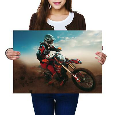 A2 | Red Motocross Biker Size A2 Poster Print Photo Art Student Men's Gift #2565