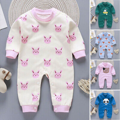 Newborn Baby Boy Girls Cartoon Cotton Romper Jumpsuit Bodysuit Outfit Clothes