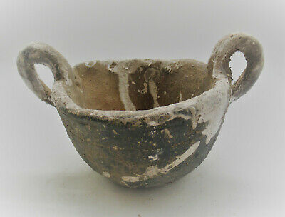 Ancient Greek Corinthian Terracotta Twin Handled Wine Vessel 400Bc