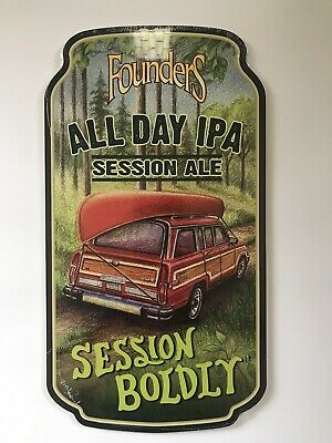 New Founders All Day IPA Session Boldly Wood Beer Sign Grand Rapids MI Bar Decor