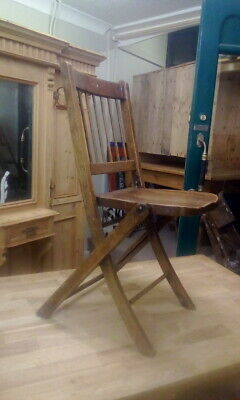 Antique Elm Folding Chair Campaign Military Naval Folding Chair