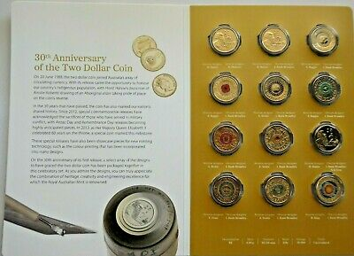 2018 30Th Anniversary Of The $2 Dollar Coin Folder Set Of 12 Coloured Coins Unc