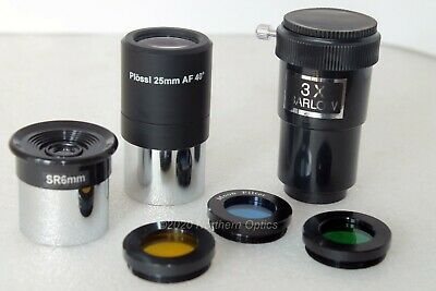 "7 piece 1.25"" telescope eyepiece and filter set + 3x barlow. UK seller UK stock"