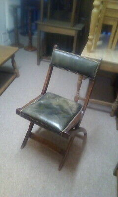 Antique Oak Folding Chair Campaign Military Naval Folding Chair