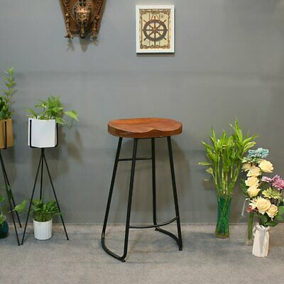 Industrial Stool Bar Breakfast Kitchen Dining Counter High Chair Wood Pub Seat