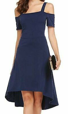 Women Cut Out Cold Shoulder Dress Short Sleeve High Low Swing A-Line Dress NEW
