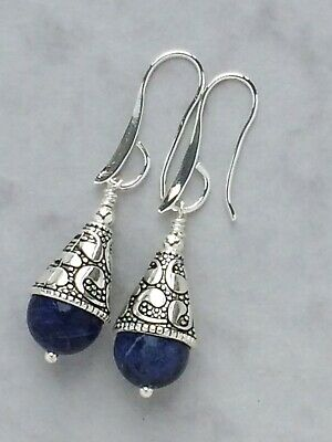 Blue Sodalite Artisan Earrings Protective Healing Crystal 925 Silver Plated