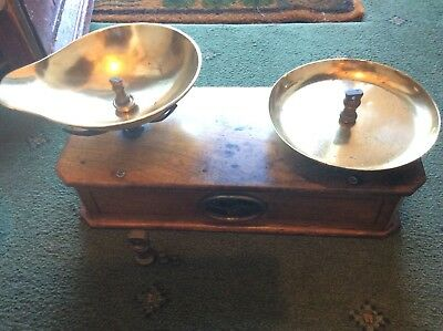ANTIQUE BRITISH 1870's SCALES-SWEET SHOP/CORNER-HOUSED IN WOOD-BRASS PANS