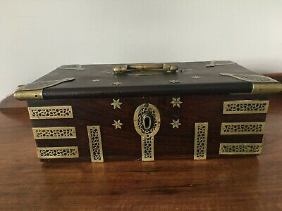 Antique Indian brass bound mahogany writing box