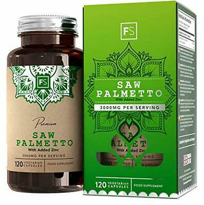 FS Saw Palmetto Capsules [3000mg] 20:1 Extract with Zinc | 120 Vegan Caps | DHT