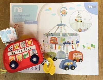 Mothercare On The Road Musical Cot Mobile & Beeping Bus Pull Toy 🚙 Bnwt 🚙